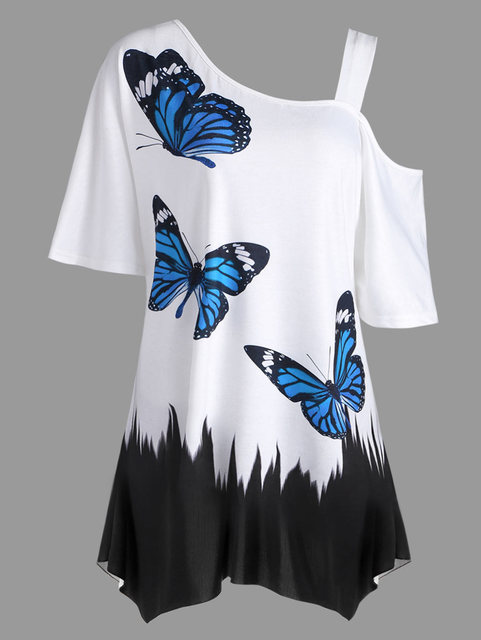 9603124f15f265 Gamiss Women Skew Collar Half Sleeve Cut Out Tops Plus Size XL-5XL  Butterfly Print Tunic T-Shirt Casual Summer Top T Shirts