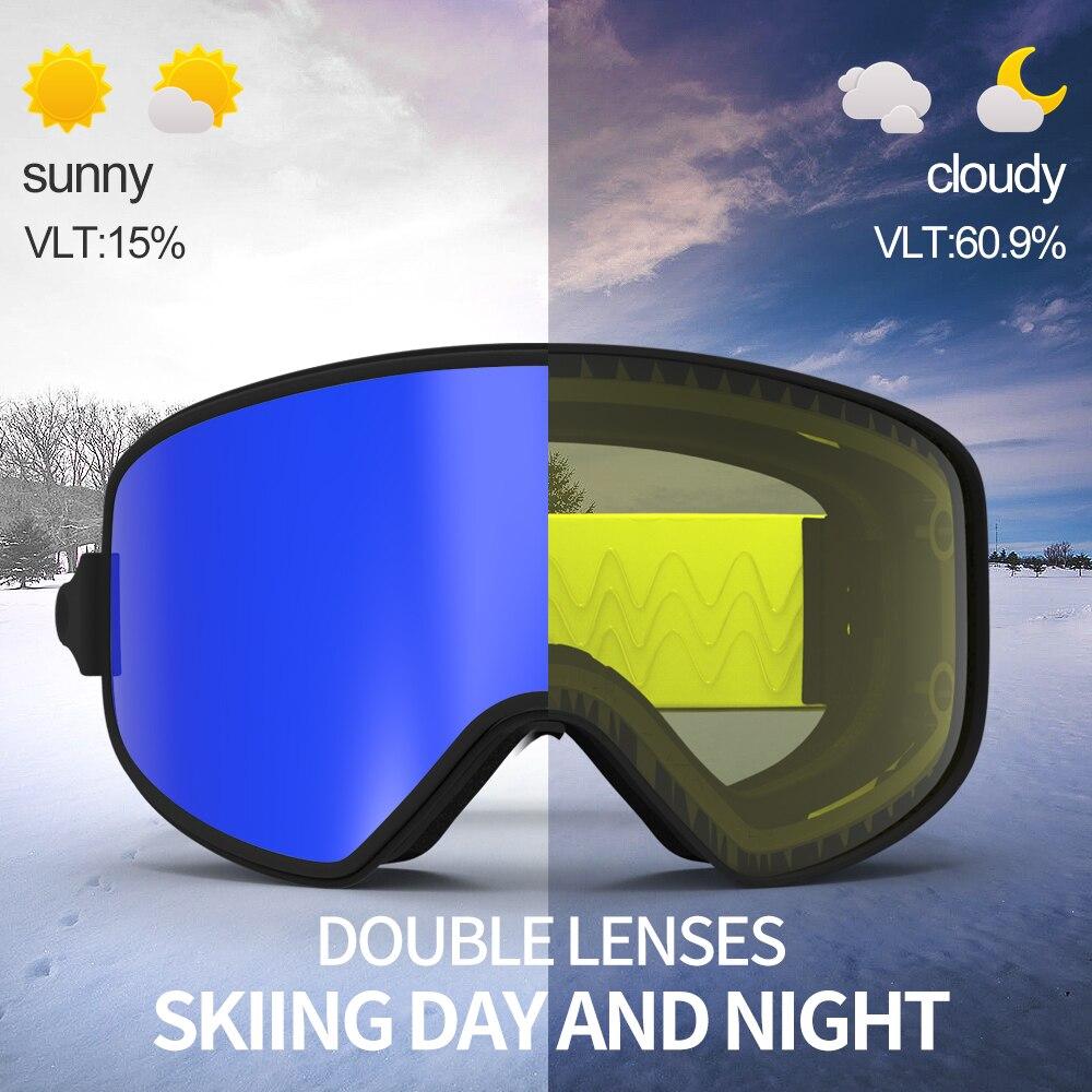 COPOZZ Dual use Óculos De Esqui com Magnética Quick change 2 em 1 Lente  Anti fog UV400 Noite óculos de esqui Snowboard para Homens   Mulheres em  Óculos de ... a7a07edafa