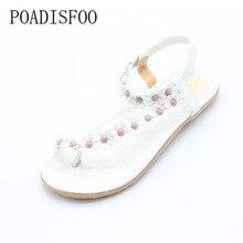 Poadisfoo Летняя Новинка 2017 г. богемный Женские домашние сандалии для женская обувь Флип Папка носком обувь на плоской подошве с цветком. DFGD-669