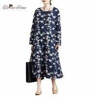 BelineRosa 2017 Women S Maxi Dresses Japan Style Elegant Retro Dress Ladies Dark Blue Floral Printed