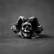 Mens Gothic Goat Demon Skull 316L Stainless Steel Ring Punk Rock Devil Biker Jewelry
