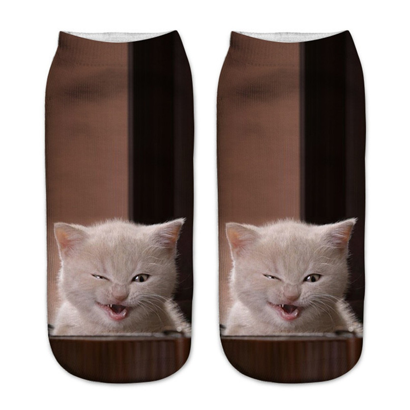 Cute cat print 3D socks happy funny socks men Women comfortable Medium Sports Casual Work Business Socks #2S29 (4)