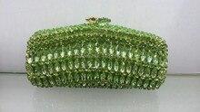 Freies Verschiffen!! A15-10, grüne Farbe Mode top Kristall Steine Ring Kupplungen Taschen für Damen schöne Party Tasche