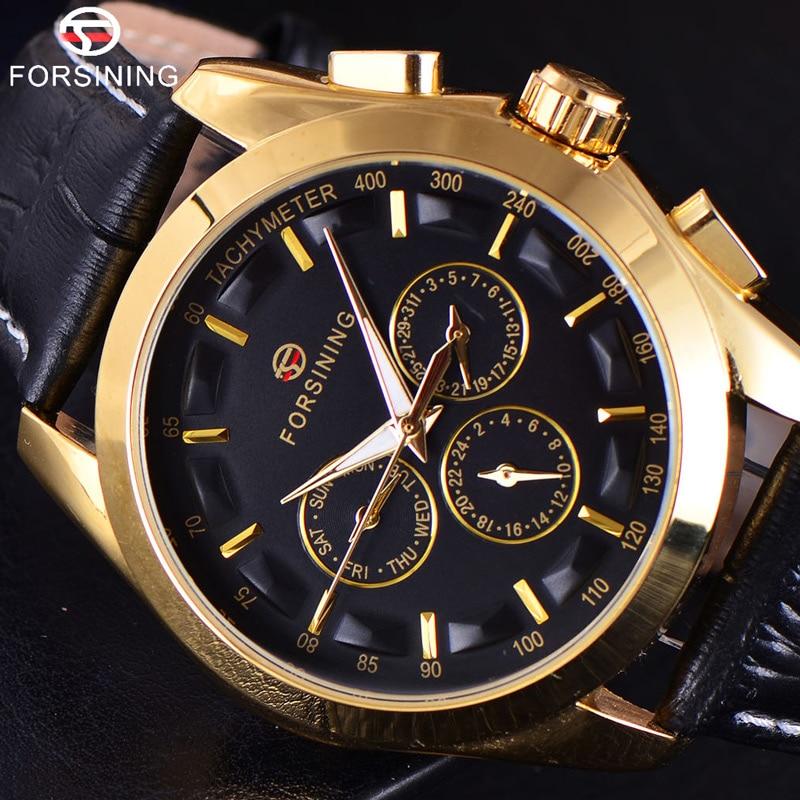 FORSINING 3D Logo Mens Gold Luxury Gold Wrist Watch Men Military Sport Business Clock Skeleton Automatic