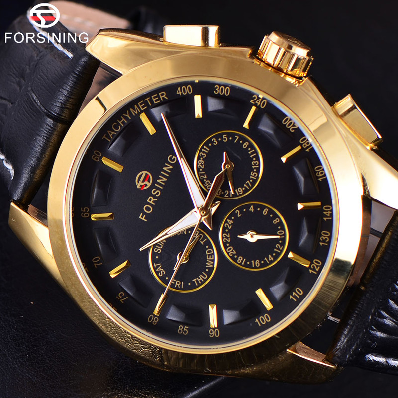 FORSINING 3D Logo Herren Gold Luxus Gold Armbanduhr Männer Military Sport Business Uhr Skeleton Automatische Mechanische Uhren-in Mechanische Uhren aus Uhren bei  Gruppe 1