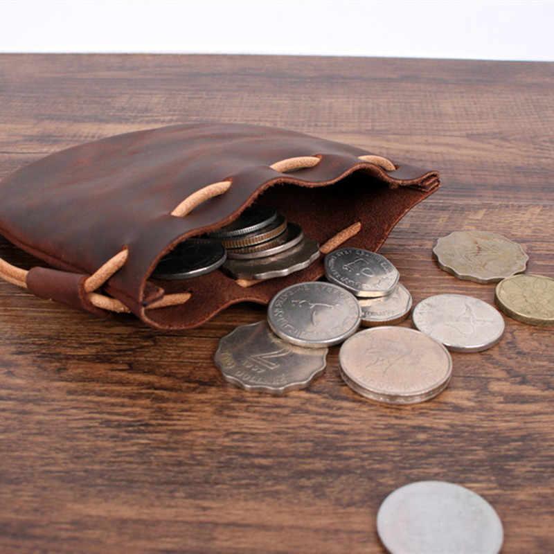 Leacool 100% bolsa de moedas de couro genuíno cavalo louco saco de moedas cordão bolsa calabash jóias sacos de embalagem