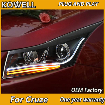 KOWELL Car Styling for Chevrolet Cruze Headlights Cruze A8 LED Headlight DRL Lens Double Beam H7 HID Xenon Car Accessories