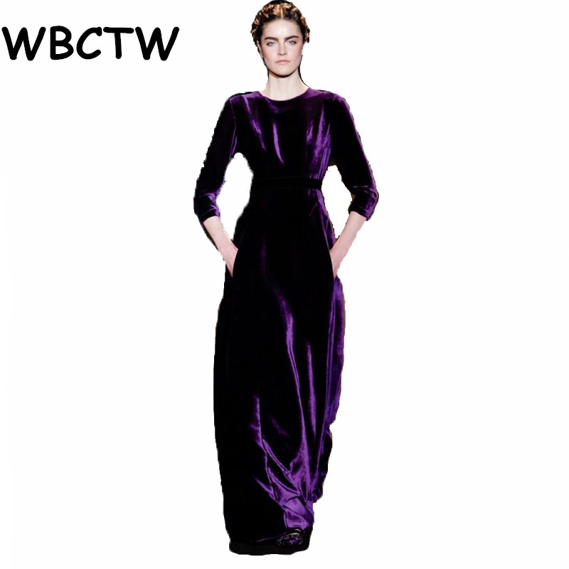 WBCTW Woman Dresses 2018 High Waist Women Long Sleeve With Pockets Plus Size Dresses Maxi Warm