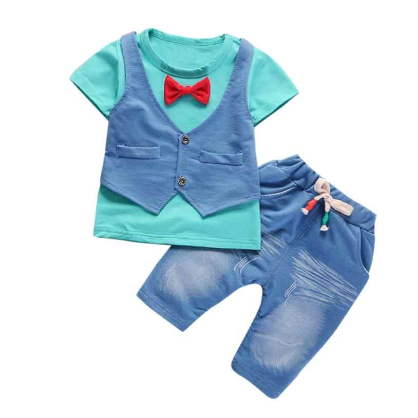 2018 Da Criança Do Bebê Dos Miúdos Meninos Roupas de Manga Curta T-shirt + Calças Roupas Cavalheiro Conjunto Confortável E Respirável 5.23
