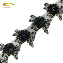 Embroidered lace flower organza wide 11.5-13cm 5yards/lot  Lace cord diy craft decor Window curtains clothing applique trim