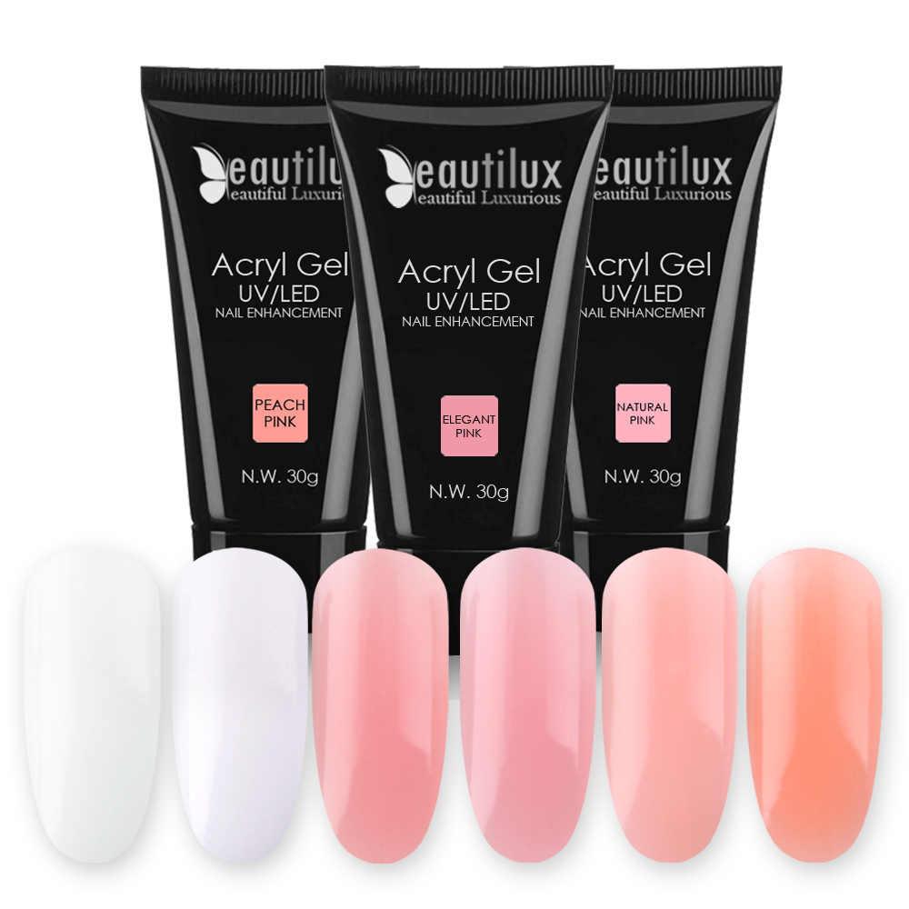 Beautilux 1pc Poly Acryl Gel Nail Polish Soak Off UV LED Builder Crystal  Acrylic Nails Gel Polish Art Lacquer 30g
