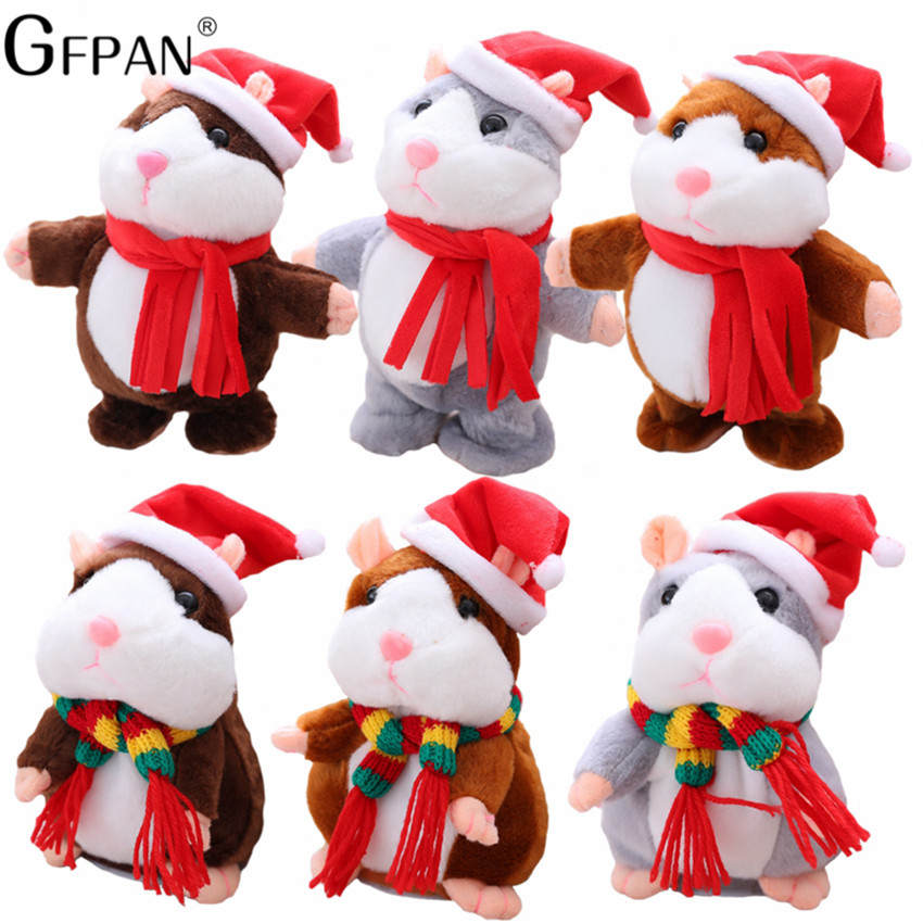 1pc 16cm Christmas Talking Hamster Plush Toy Interactive Sound Record Plush Hamster Stuffed Toy for Children Kids Christmas Gift