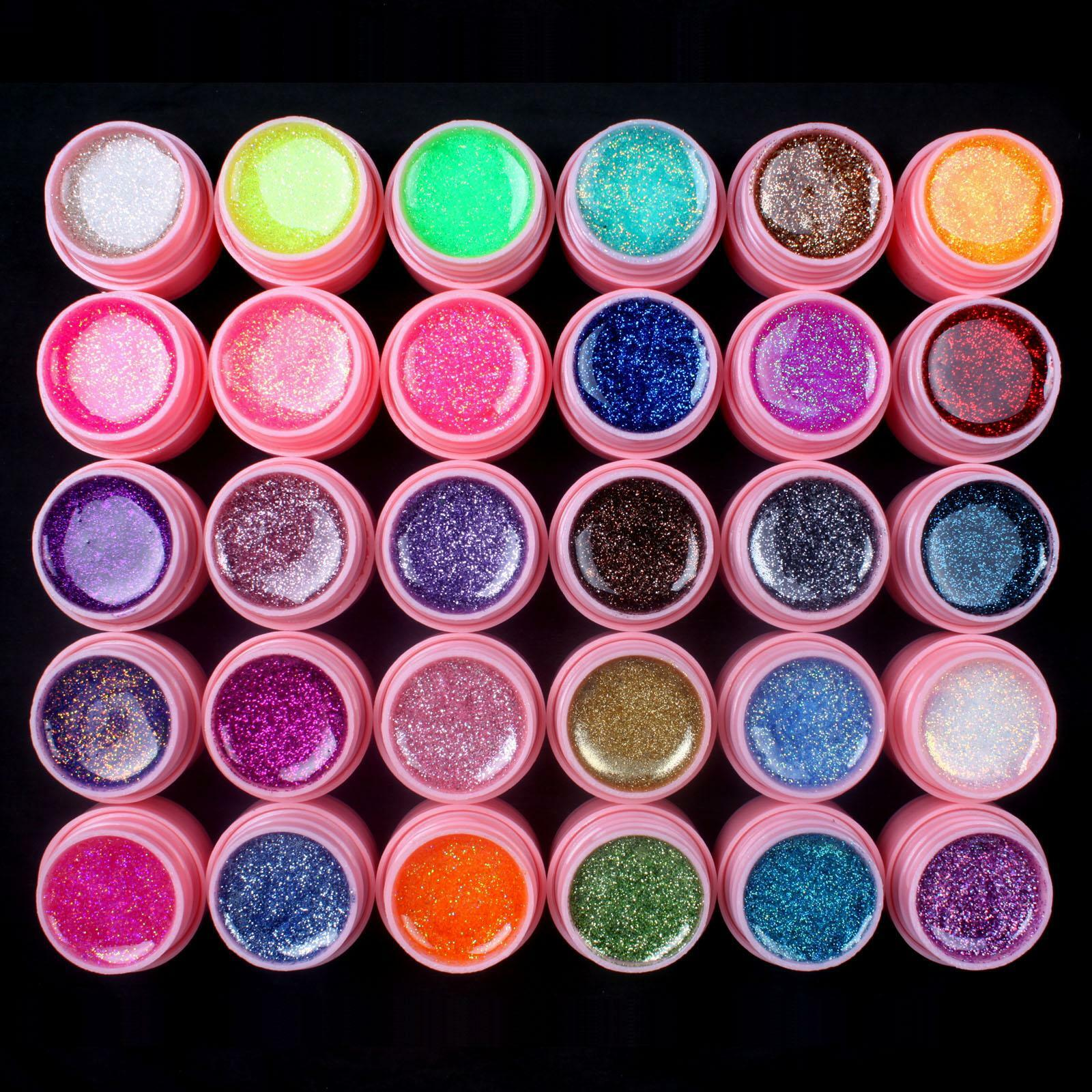 30 pcs mix glitter cores uv builder gel acrilico set para nail art tips rosa novo