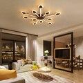 Затемнение + пульт дистанционного управления кофейного цвета для гостиной спальни для учебы современная светодиодная потолочная люстра Deco...