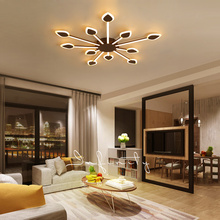 hot deal buy dimming + remote control coffee color living room bedroom study modern led ceiling chandelier deco minimalist chandelier fixture