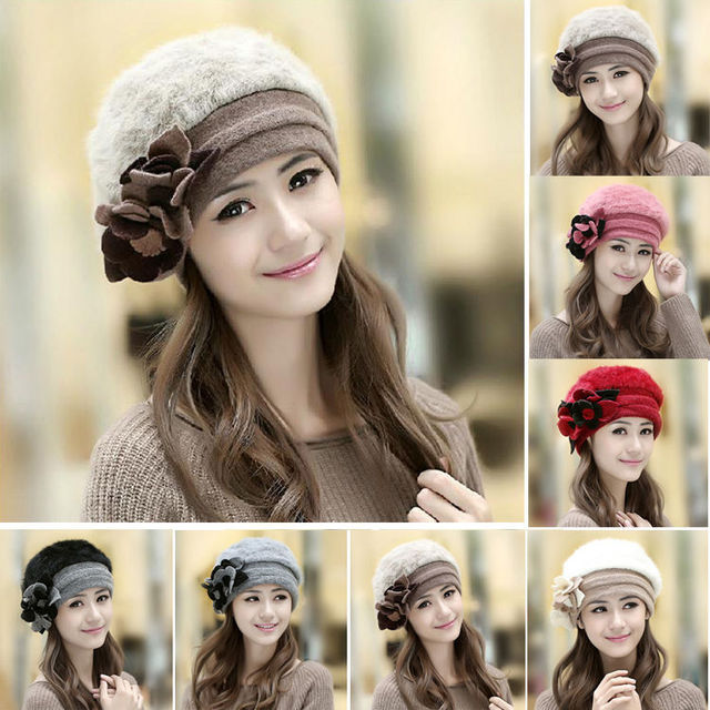 Women's Real Genuine Rabbit Fur Winter Warm Hat Beanie Hat Cute Flower knit Cap