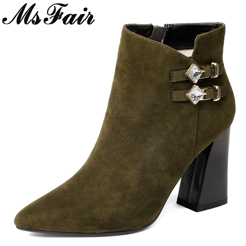 MsFair Square Toe Square heel Women's Boots Zipper High Heel Ladies Boot 2017 Winter Buckle Crystal Women's Ankle Boots Shoes double barrel toddler boys s andy cowboy boot square toe