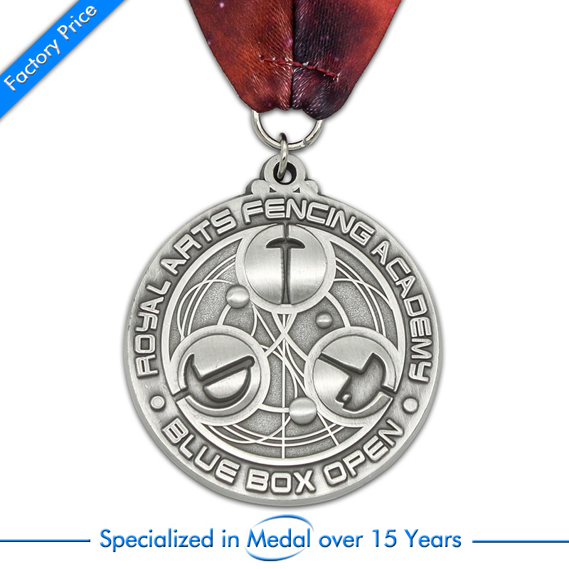 arts medals cheap antique silver with ribbons factory custom high quality metal