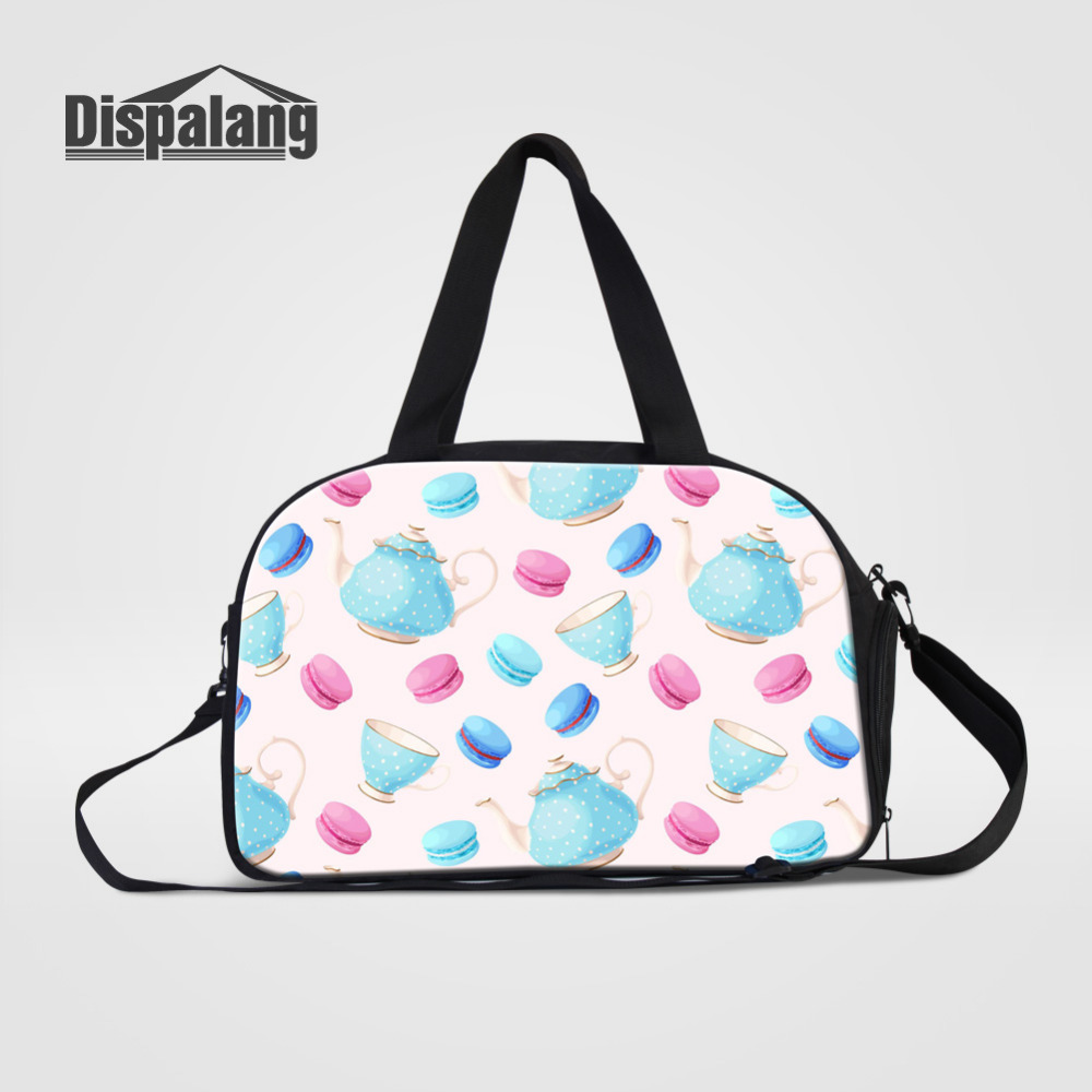 Dispalang Womens Travel Bags Teapot Cake Print Luggage Duffel Bag Large Capacity Professional Travel Bag Casual Shoulder Handbag