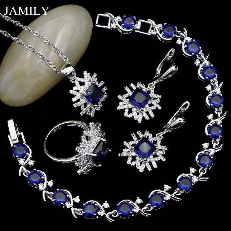 JAMILY 925 Sterling Silver Jewelry Sets For Women Blue Cubic Zirconia White Crystal Earrings/Pendant/Ring/Necklace/Bracelet