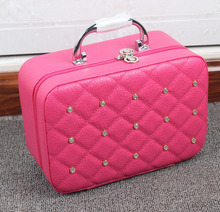 Portable Diamond Decoration Cosmetic Bag Make up Case Large Capacity  Cosmetics Organizer   Travel Pouch for Women  6 Colors