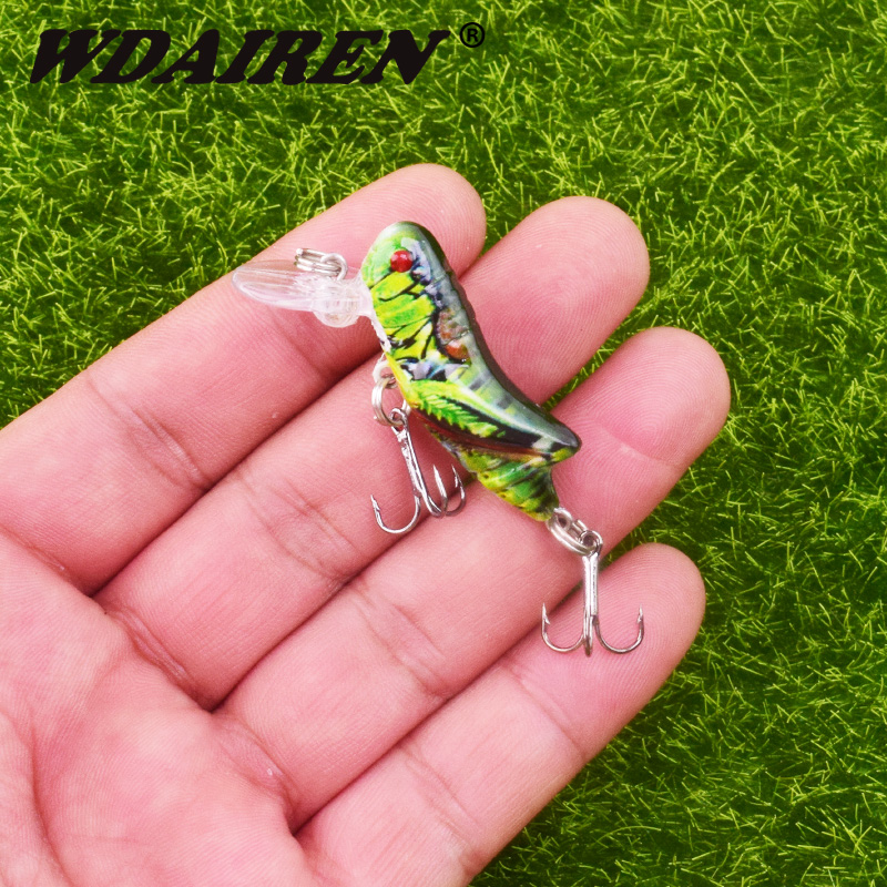 1Pcs 45mm 3.5g Insect Fishing Lures Road Simulation Grasshopper Fishing Bait Squid Hard Artificial Baits Bass Lure Fishing Tackl