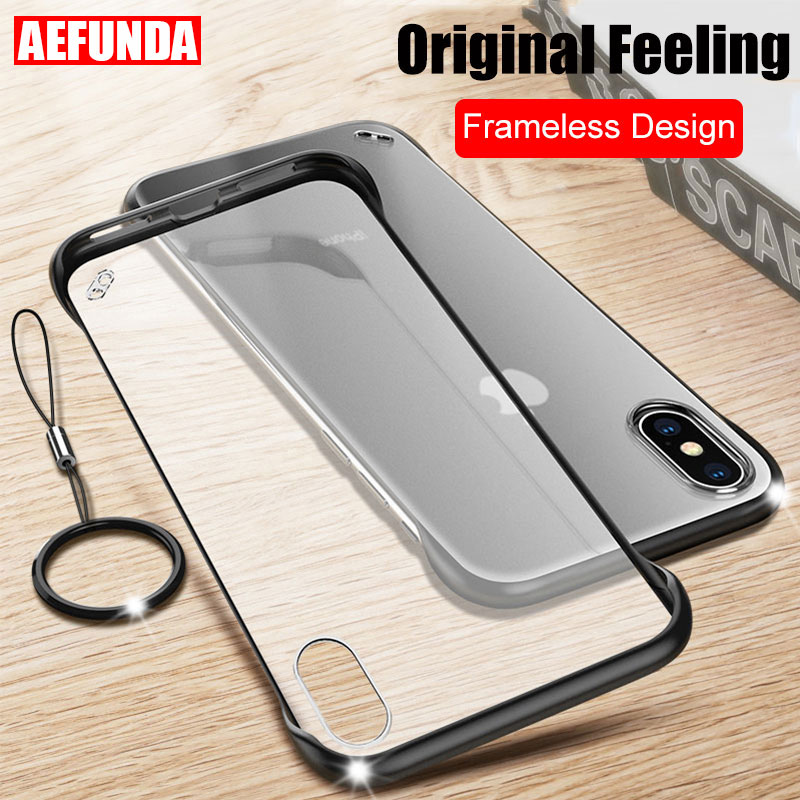 Luxury Frameless Design Clear Phone Case For iPhone X XS Max XR 11 Pro 7 8 Plus 6 6S Coque Matte Hard PC Transparent Cover Cases