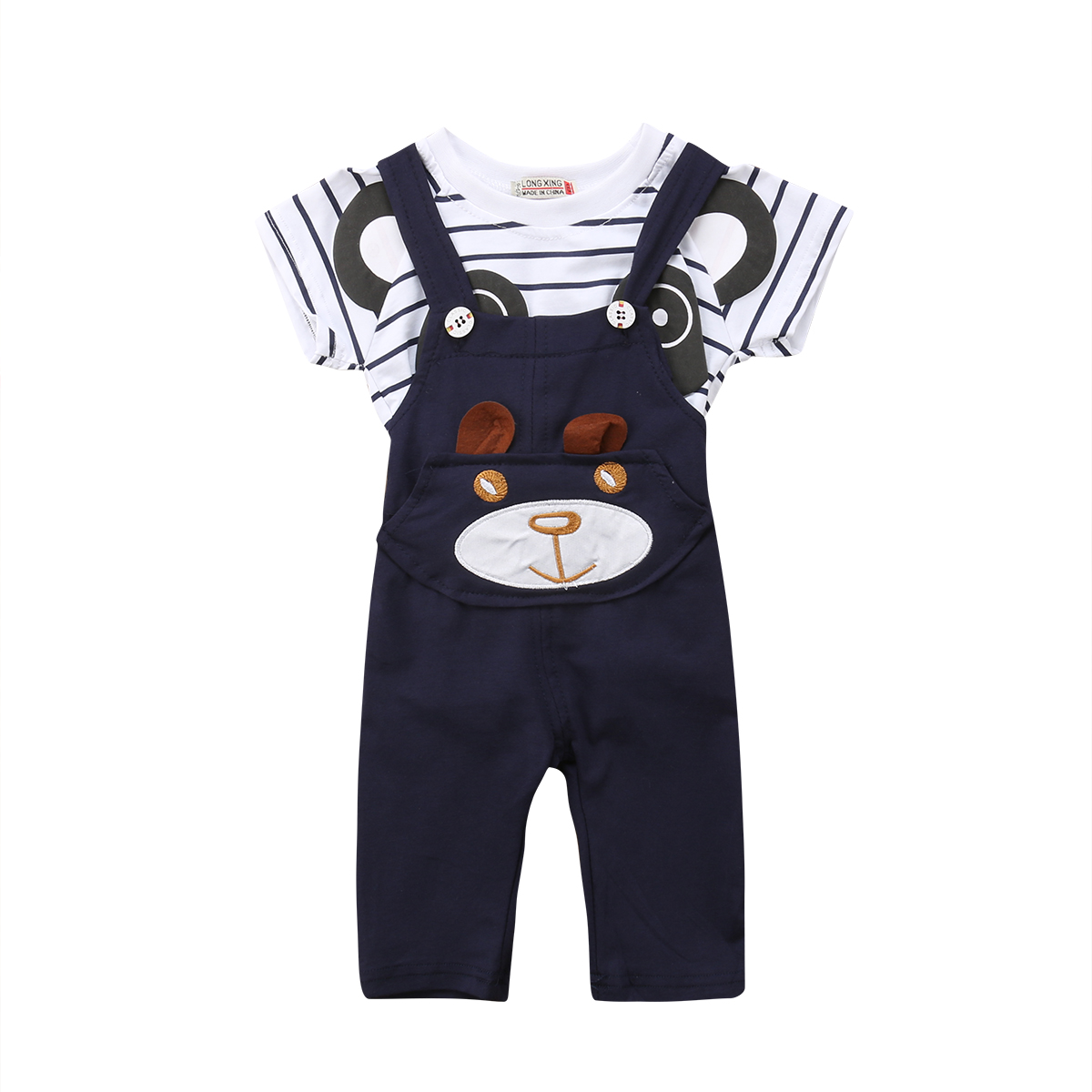 2PCS Newborn Kids Baby Boy Girls Cotton Short Sleeve O-Neck Panda T-shirt +Pants Overalls Outfits Set 0-24 Months Helen115