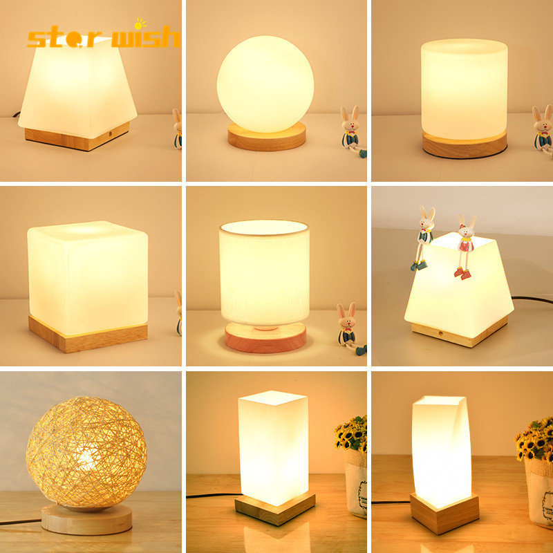 Modern Nordic Beside Desk Lamps LED Wood Table Lights Night Lamps Beside Living Room Bedroom Table Lamps Lighting Fixtures