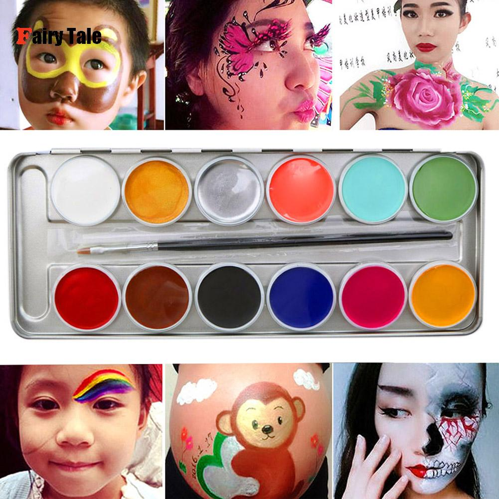 12 Colors Face paint Tattoo Color Halloween Face Body Oil Painting Make Up Party Fancy Body Paint Art Makeup Tool With Brush