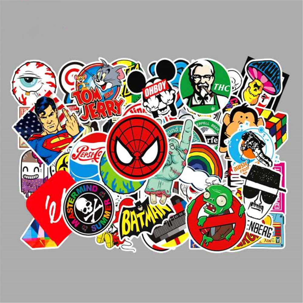 50PCS Mixed Sticker Funny Toy Sticker For Car Styling Bike Motorcycle Phone Laptop Travel Luggage Cool Funny Stickers Bomb Decal