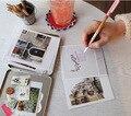 Утюг жестяная коробка упаковки Корея Индиго Поляроид Открытку набор дизайн красивых городов, как Париж, Лондон, Прага, Italia, Токио