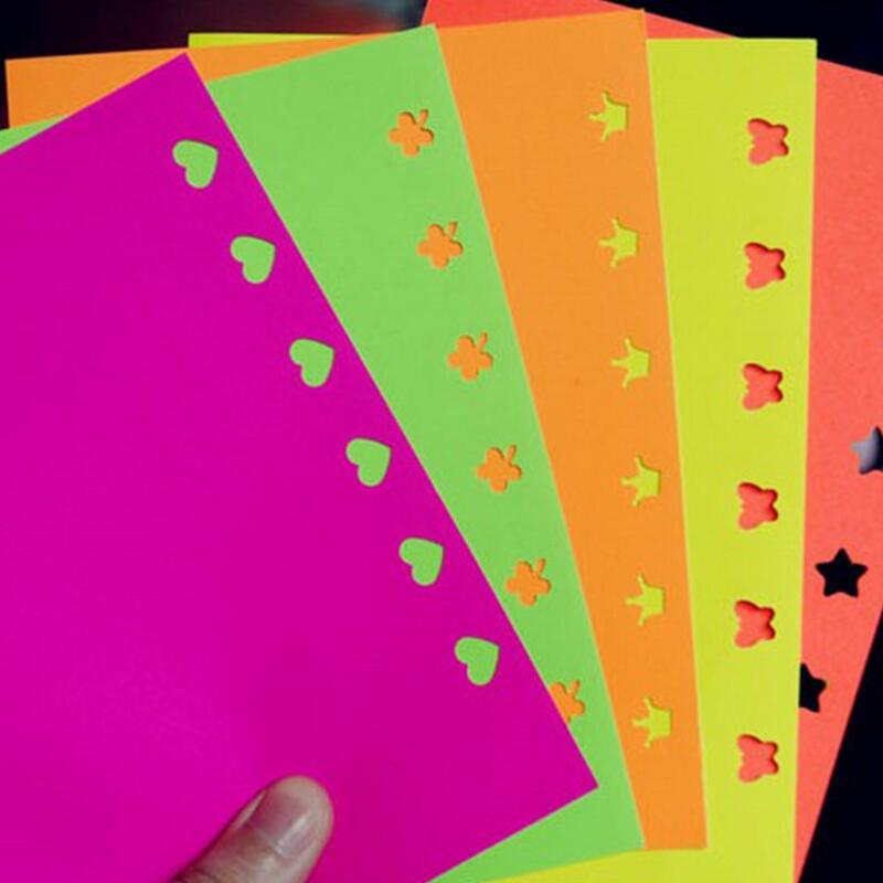 10pcs Multicolor Adhesive Embossed Paper,Color Fluorescent Scrapbooking Craft Sticker Punch Stamping DIY Gift Decor Card YH28