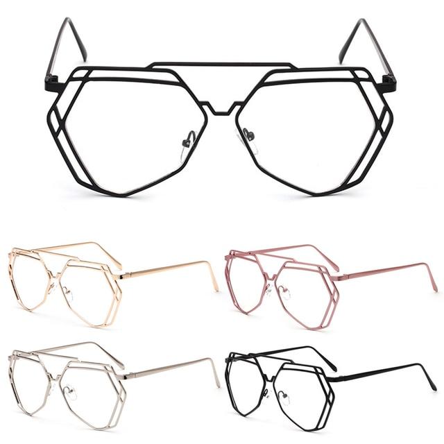 Mode Retro Vintage Pria Wanita Kacamata Bingkai Kacamata Lensa Yang Jelas  Kacamata Pink efc65a0fb6