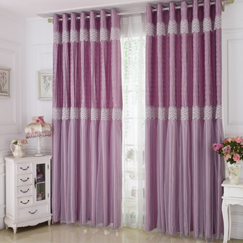 1PC Double Layer Cloth+Voile Window Curtains for Girl's Bedroom Princess Style White Lace Elegant Curtains
