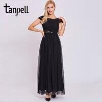 Tanpell đen hollow buổi tối ăn mặc phụ nữ scoop ren tay ankle length a line dresses khoác dài áo dài tốt nghiệp evening gown