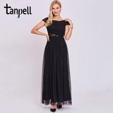 c0a6fbfcbd1a Tanpell nero hollow donne del vestito da sera scoop senza maniche in pizzo  caviglia una linea di abiti drappeggiato lungo di lau.