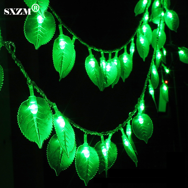 Sxzm 10m 100led String Light Green Leaves Ac110v 220v Holiday Outdoor Decorative Lighting 8 Modes Eu/us Plug Waterproof Lights & Lighting