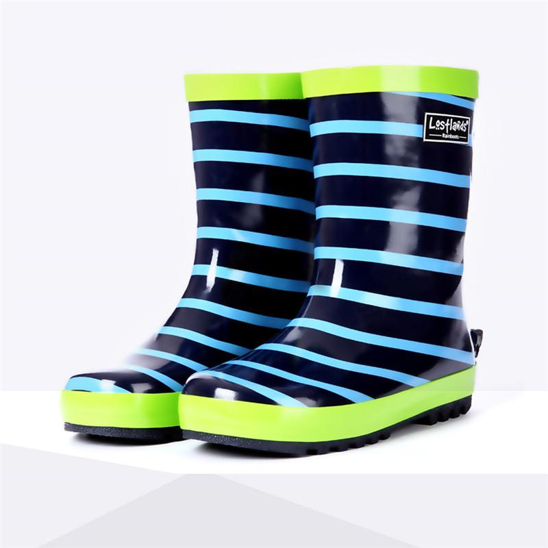 Stripe Naval Style Rain Shoes for Kids Handsome Boy Student Children Waterproof Rain Boots Kids Overshoes Water Rubber Boots special package mail between children s rain boots shoes cartoon water hero boy league men s shoes boots