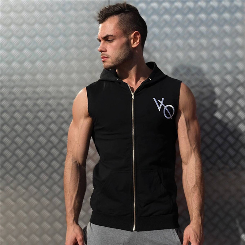Men Bodybuilding sleeveless Hoodie Male Gyms Fitness Workout Zipper Sweatshirt Cotton Vest   Tank     top   Boy Casual Fashion Clothing
