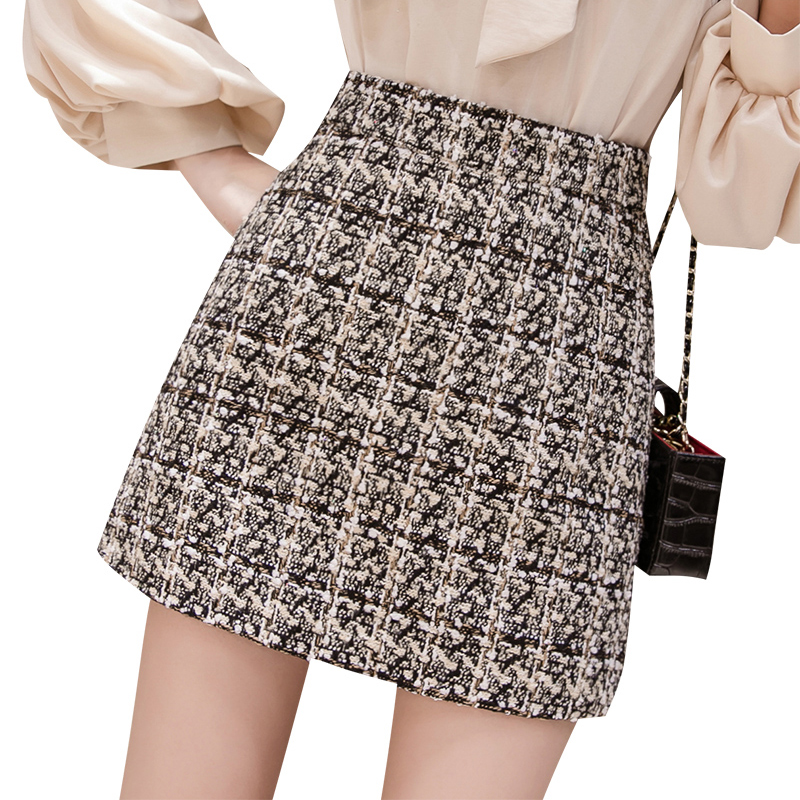Black Tweed Skirt Women 2019 Autumn Winter Korean Elegant Jupe Femme Plaid Bottoms For Ladies A-Line Sequins Short Mini Skirts