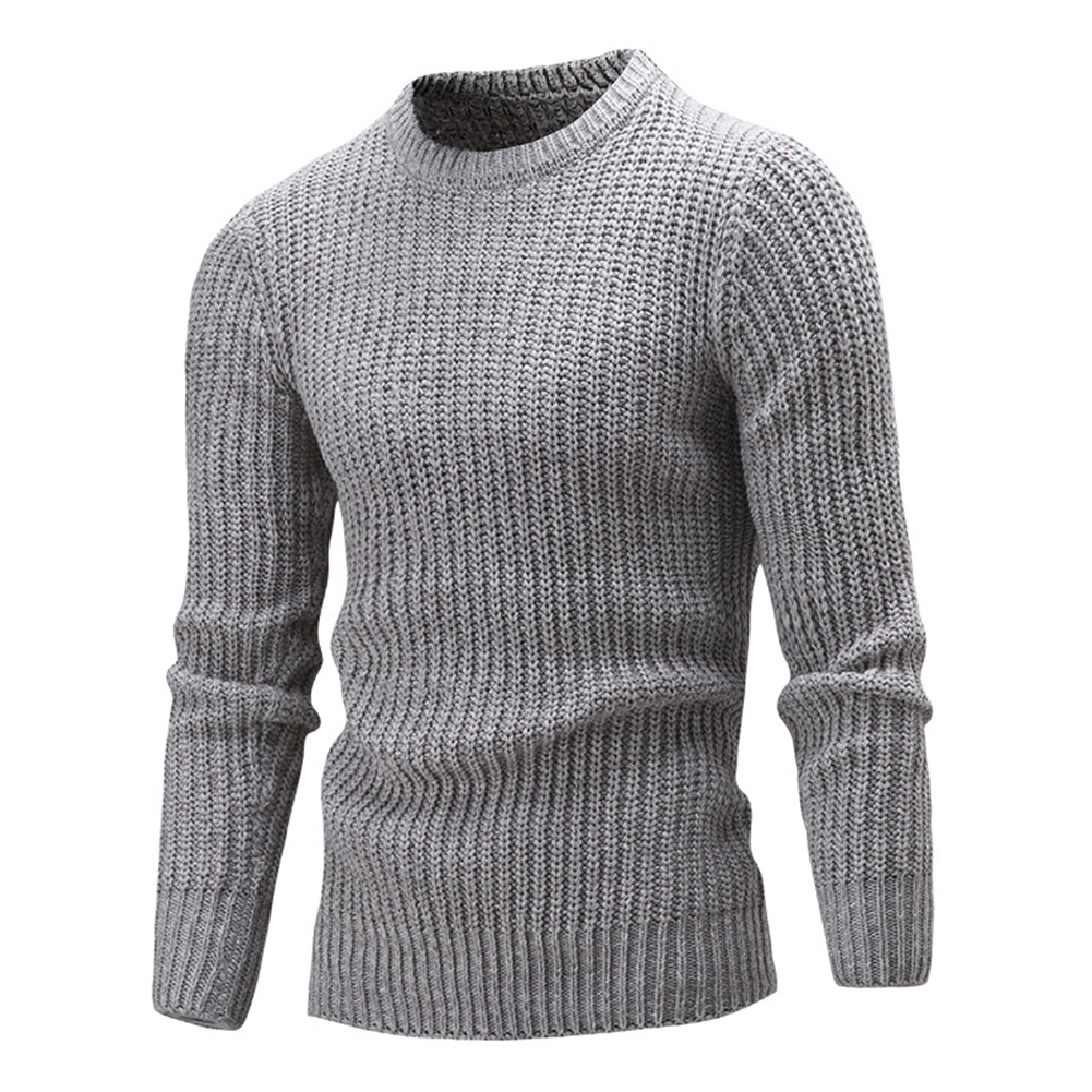 Fashion Men Knitting Sweater Simple O-Neck Slim Fit Casual Pullover Knitwear Top