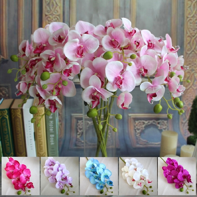 78cm artificial butterfly orchids decorative silk flowers home 78cm artificial butterfly orchids decorative silk flowers home dinner room decoration 7colors wedding party deco 5pcs mightylinksfo