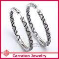 Carraton ESQD2106 Полный Смешанный Цвет Цирконий Подлинная Стерлингового Серебра 925 5 см 50 мм Большой Хооп Серьги