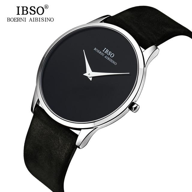 IBSO erkek saatler Top marka lüks 7MM ultra ince arama hakiki deri kayış izle erkekler moda basit Relogio masculino
