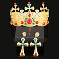 Retro Greece multi color bride jewelry alloy crystal crown suits Baroque hairbands hair accessories earrings wedding jewelry set