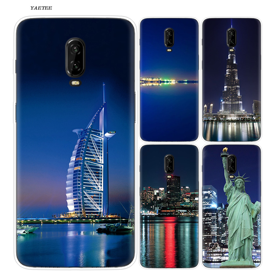 Silicone Phone Back Case For OnePlus 5T 6 6T Frosted Fundas Fashion Soft Printed Cover Coque city night view