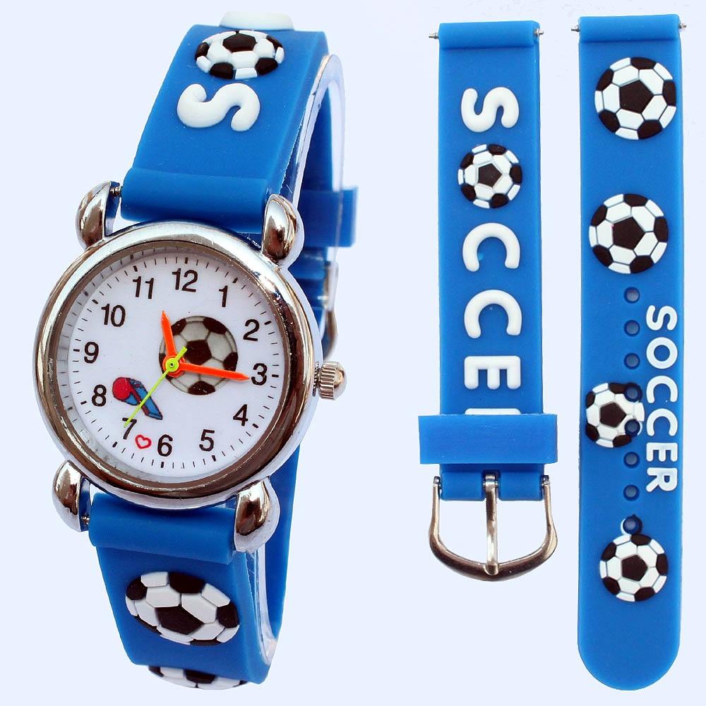 10 Teile/los, Gemischt 3d Uhr Cartoon Fußball Kinder Analoge Uhr Blau Uhr Junge Mädchen Uhren Cartoon Armbanduhr Weihnachten Geschenke Um Zu Helfen, Fettiges Essen Zu Verdauen
