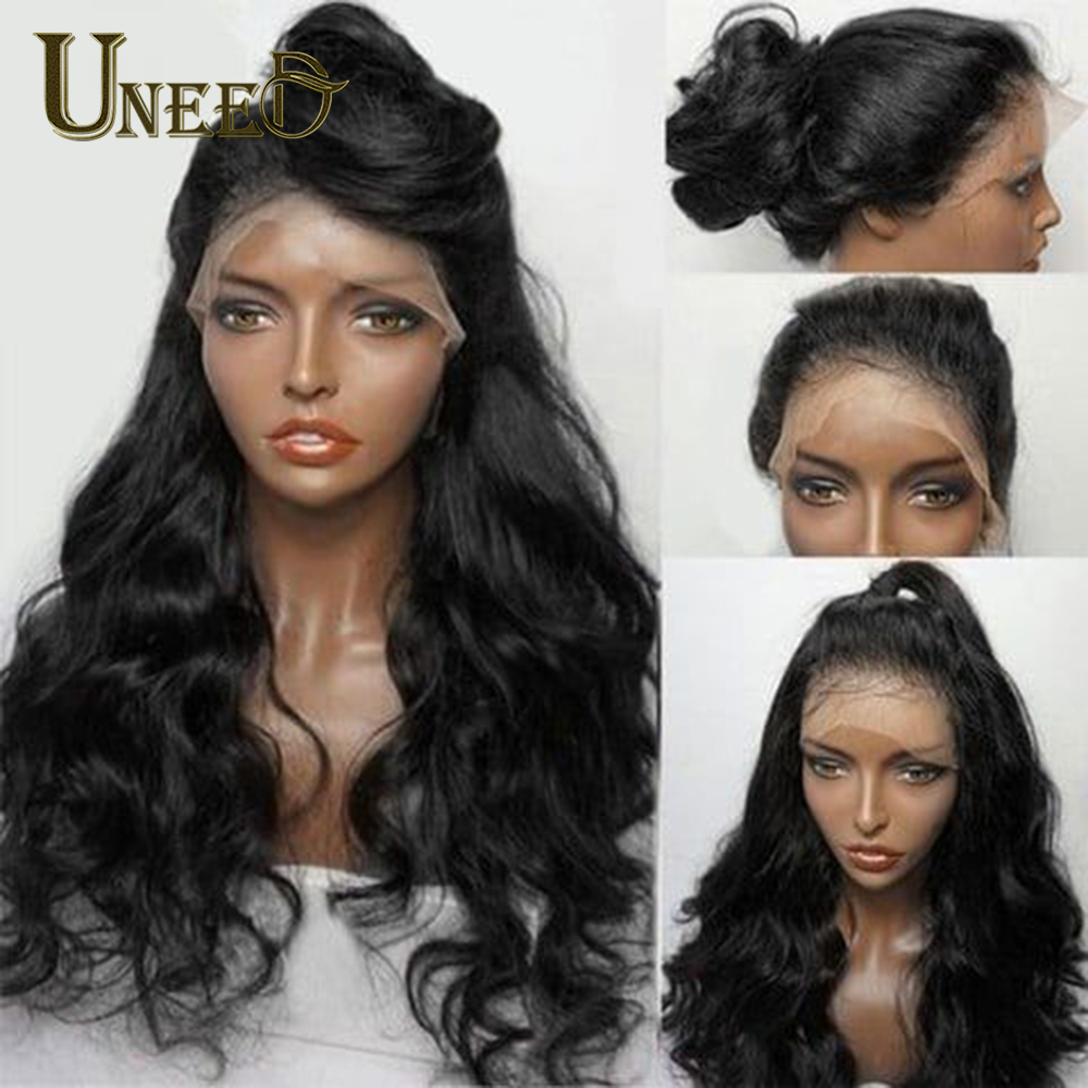 Image 5 - Uneed Body Wave 13x4 Lace Front Human Hair Wigs For Women Pre Plucked Peruvian Remy Hair Wigs Bleached Knots Baby Hair-in Human Hair Lace Wigs from Hair Extensions & Wigs