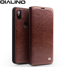 QIALINO Genuine Leather Ultra Slim Flip Cover for Xiaomi Mix 3 Fashion Handmade Phone Case with Card Slot for Mix 3 6.39 inches